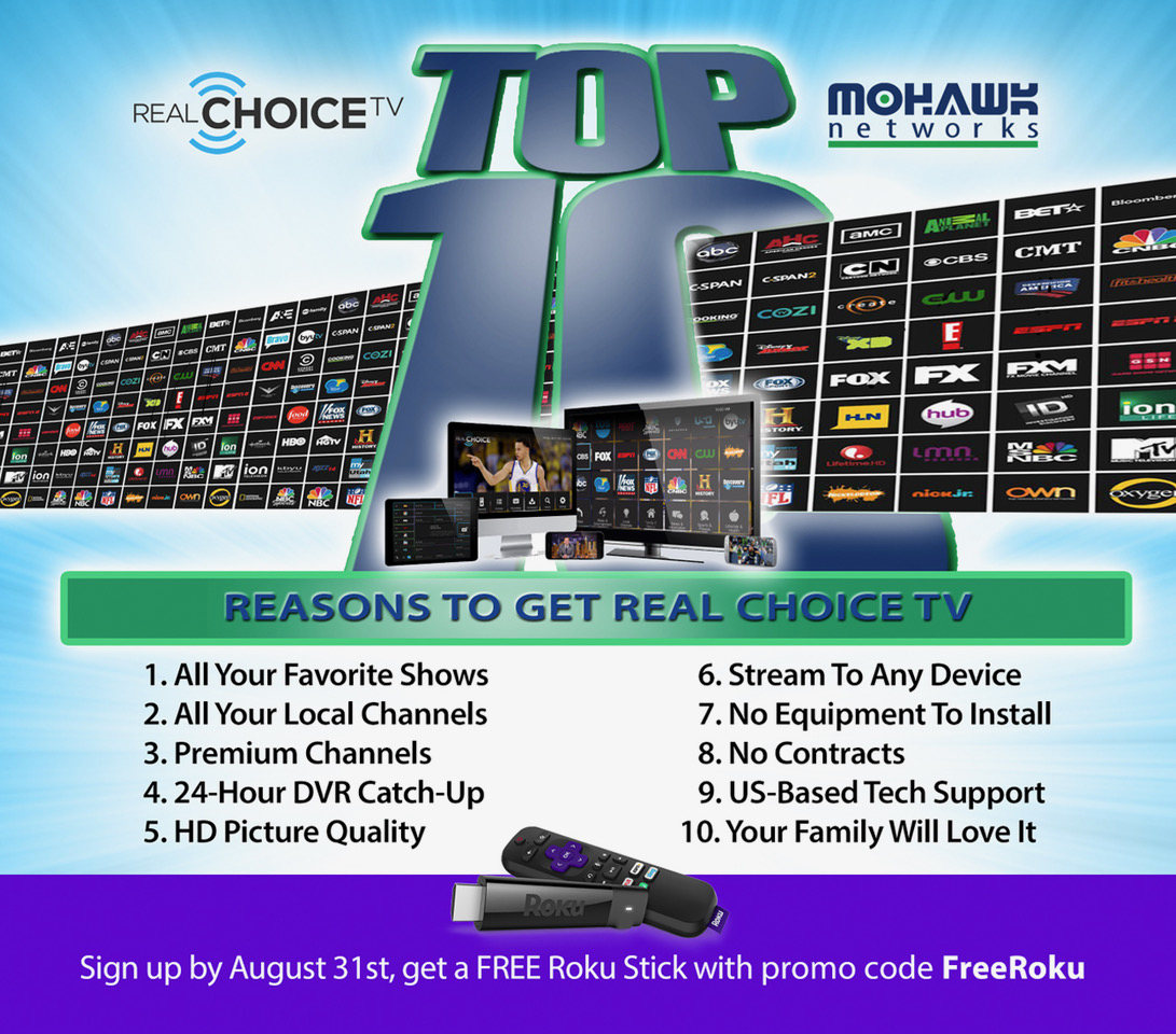 Top 10 Reasons to Stream TV With RealChoiceTV from Mohawk Networks